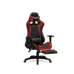 DEFENDER 2 fotel gabinetowy z podnózkiem czarny / czerwony