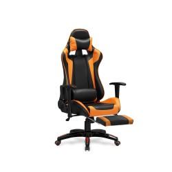 DEFENDER 2 fotel gabinetowy z podnózkiem czarny / pomarańczowy